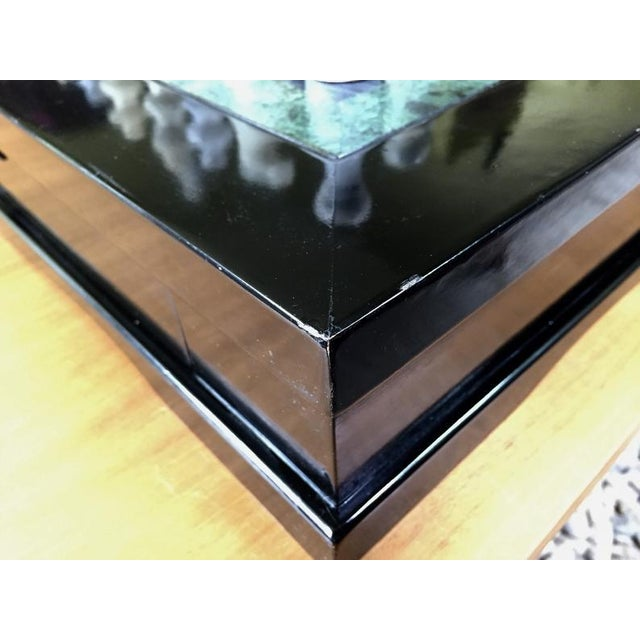 Vintage 70's Black Lacquer Box With Drawers and Inlay Marble Chess Board For Sale - Image 9 of 11