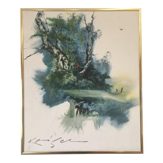 """Original Vintage Oil Painting on Canvas by Ef Kaiser """"Sand Trap"""""""