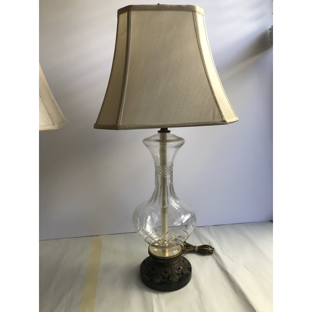 1900 - 1909 1900s Victorian Glass Table Lamps with Marble and Bronze Base - a Pair For Sale - Image 5 of 11