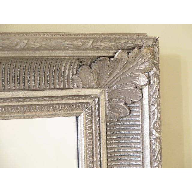 Traditional Tall Rectangular Silver Decorated Framed Beveled Glass Mirror For Sale - Image 3 of 6