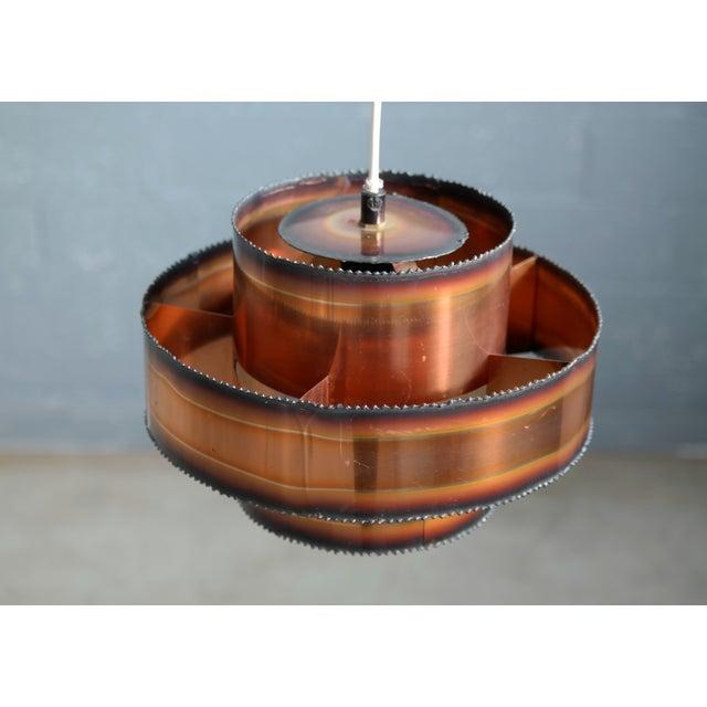 Brutalist Brutalist Style Patinated Copper Pendant by Svend Aage Holm Sørensen, Denmark For Sale - Image 3 of 5