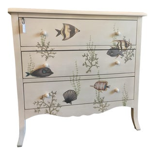 Vintage Ocean-Themed Hand-Painted Dresser For Sale