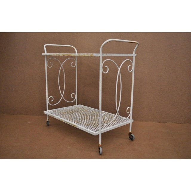 Vintage Wrought Iron Metal Mesh Patio Tea Cart For Sale - Image 12 of 12