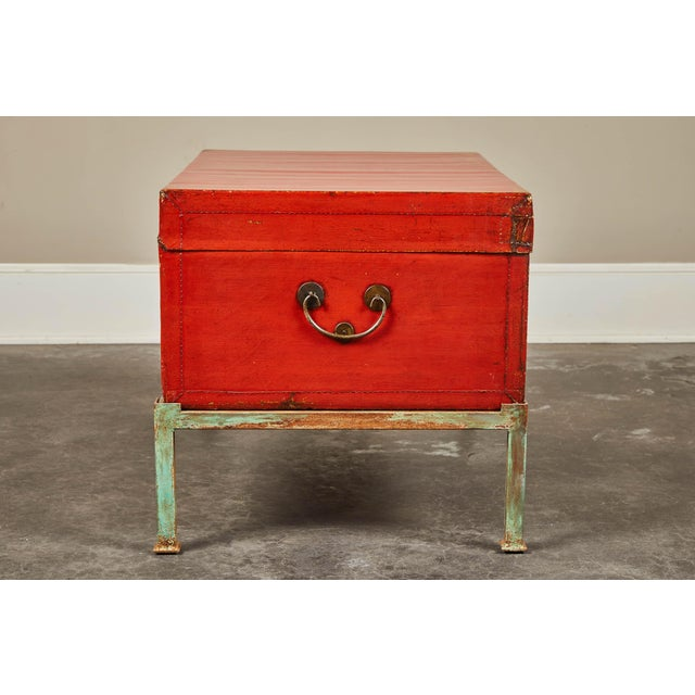 Red Red Lacquer Pig-Skin Leather Camphor Trunk on Stand For Sale - Image 8 of 9
