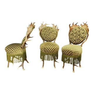 Three Rare Antler Parlor Chairs, Austria Ca. 1880 For Sale