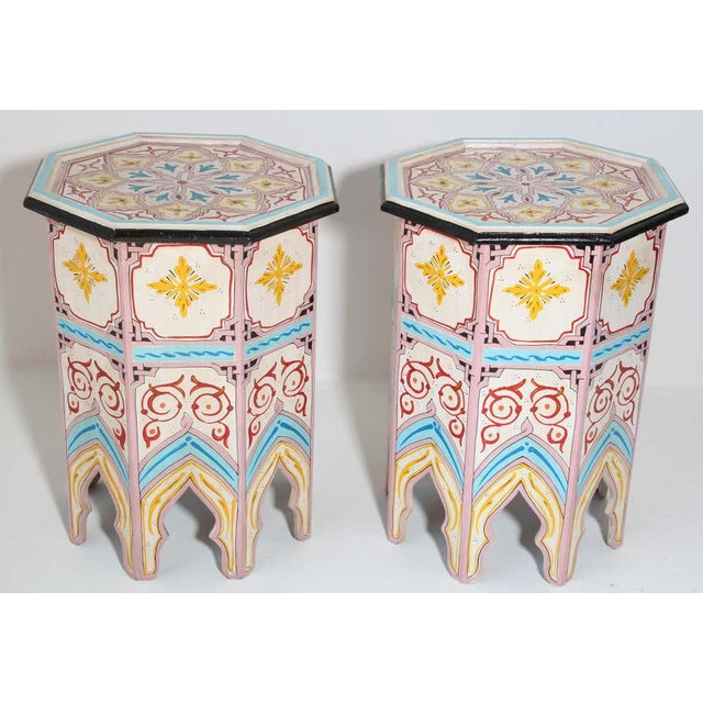 Moroccan Hand Painted Side Tables - a Pair For Sale In Los Angeles - Image 6 of 13
