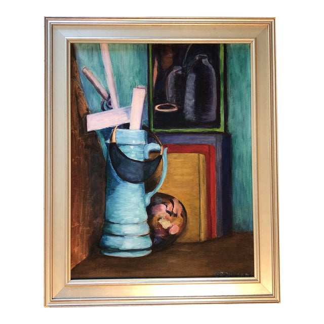 """Original Vintage Modernist Still Life Painting """"The Catchall"""" For Sale"""