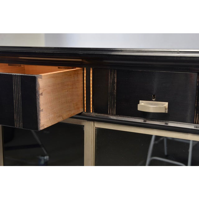 1930s Art Deco Ebonized Cabinet With Aluminum Trim and Glass Doors For Sale - Image 5 of 11
