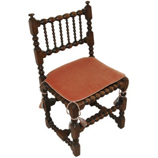 Early English Chair With Contemporary Cushion For Sale