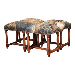 French Louis XIII Style Walnut Stools Covered With 18th Century Aubusson Tapestry - Set of 4