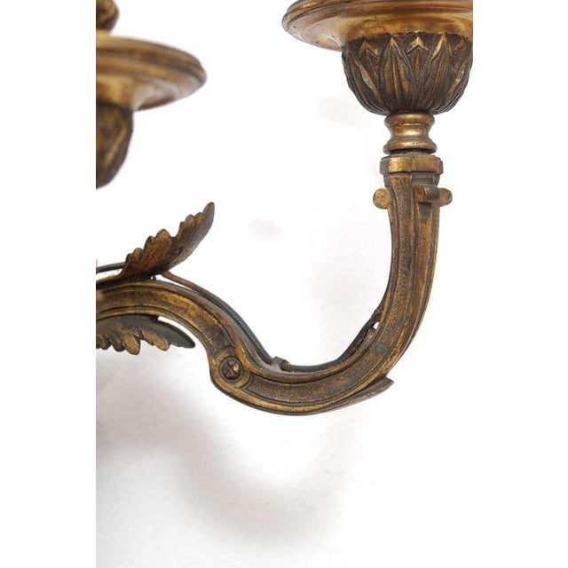 Neoclassic Style Hand-Cast Bronze Three-Light Sconces, America - a Pair For Sale In Washington DC - Image 6 of 9