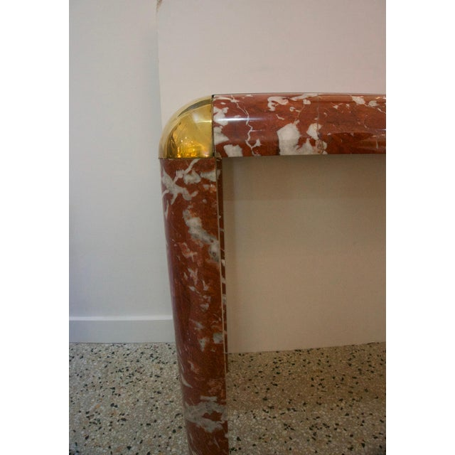 Karl Springer Karl Springer Console Table in Breccia Marble, Brass and Smoke Glass For Sale - Image 4 of 8