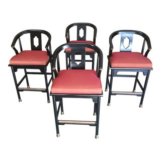 Asian Modernist Barstools - Set of 4 For Sale