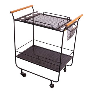 Mid-Century Modern Iron and Maple Bar Cart / Tea Trolley For Sale