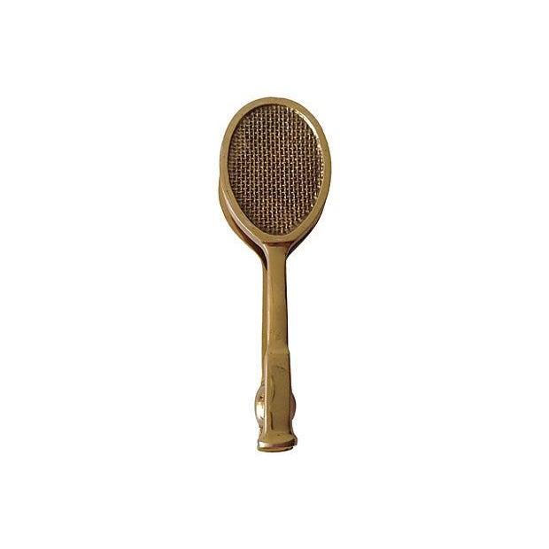 Vintage Solid Brass Tennis Racket Door Knocker For Sale