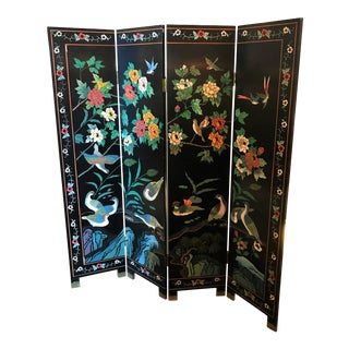 Mid 20th Century Vintage Four Panel Floor Screen For Sale