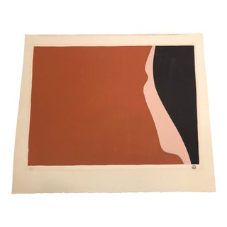 Black, Peach & Sienna Colored Minimalist Woman's Profile Hand-Painted Serigraph 1/27 by Geoffrey Graham For Sale