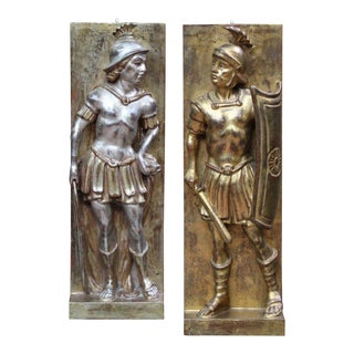Italian Carved Wood Gladiator Plaques - A Pair
