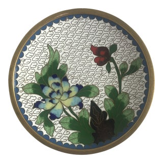 Vintage Asian Cloisonne and Bronze Mini Plate For Sale