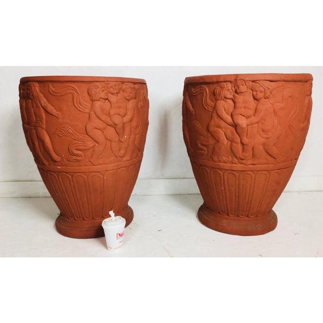 Italian Terra-Cotta Cherub Relief Garden Pots - a Pair For Sale - Image 10 of 11
