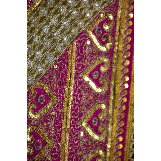 Mughal Style Metal Threaded Tapestry Framed from Rajasthan, India For Sale - Image 9 of 13