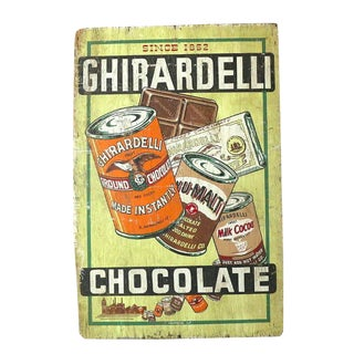 1915 Chocolate Sign, Huge Double Sided Billboard on Wood For Sale