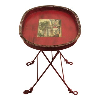 Vintage Mid-Century Hand-Painted Transfer Iron Tray Table For Sale