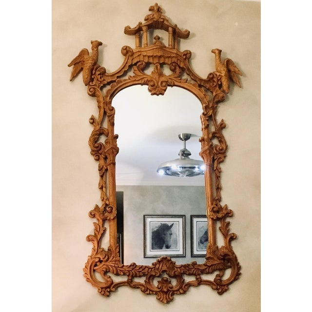 Chinese Chippendale Style Pagoda Mirror With Hoho Birds For Sale In Cleveland - Image 6 of 9