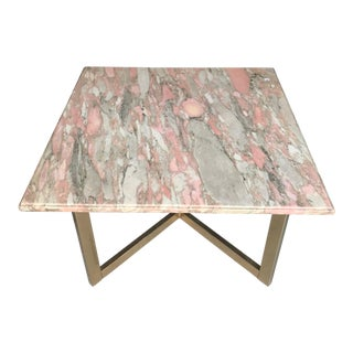 Vintage Brass and Pink Marble Top Coffee Table