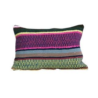 Kim Salmela Multi-Colored Stripe Peruvian Kilim Lumbar Pillow For Sale