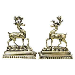 Antique English Deer Fireplace Ornaments, Pair For Sale