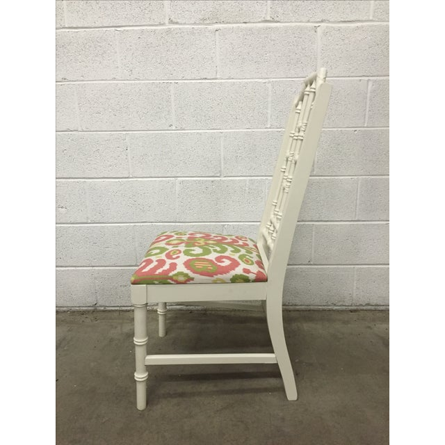 White Bamboo Chair W/ Duralee Pink & Green Seat - Image 5 of 8