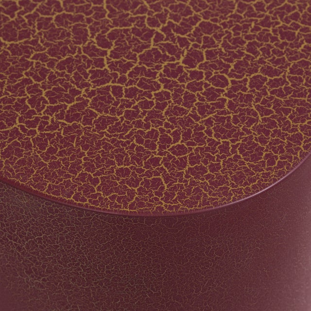 Gold The Oval Crackle Side Tables by Talisman Bespoke (Burgundy and Gold) For Sale - Image 8 of 8