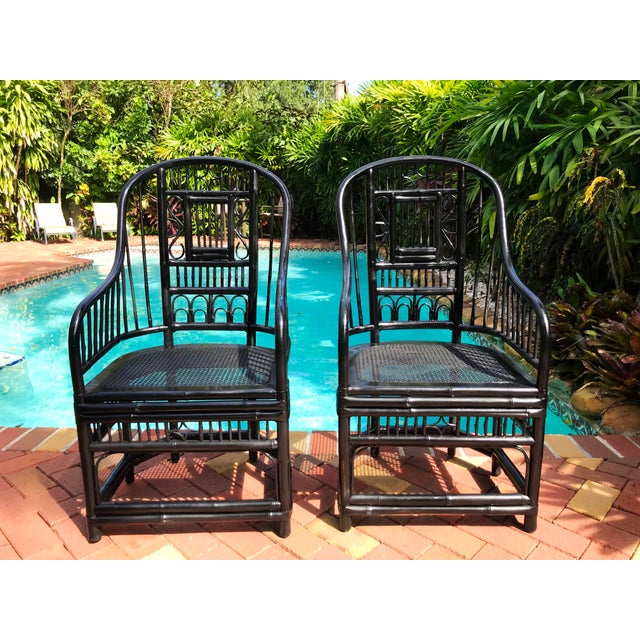 Wood Vintage Brighton Pavilion Chinoiserie-Style Black Lacquered Bamboo and Rattan Chairs- a Pair For Sale - Image 7 of 13