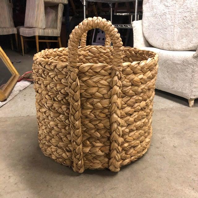 Large Wicker Floor Storage Basket with Braided Handle.