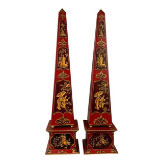 Pair Tôle Obelisks With a Chinoiserie Motif For Sale