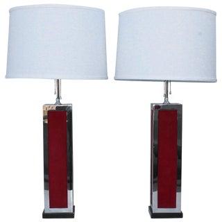 1970s Modern Chrome and Velvet Table Lamps For Sale