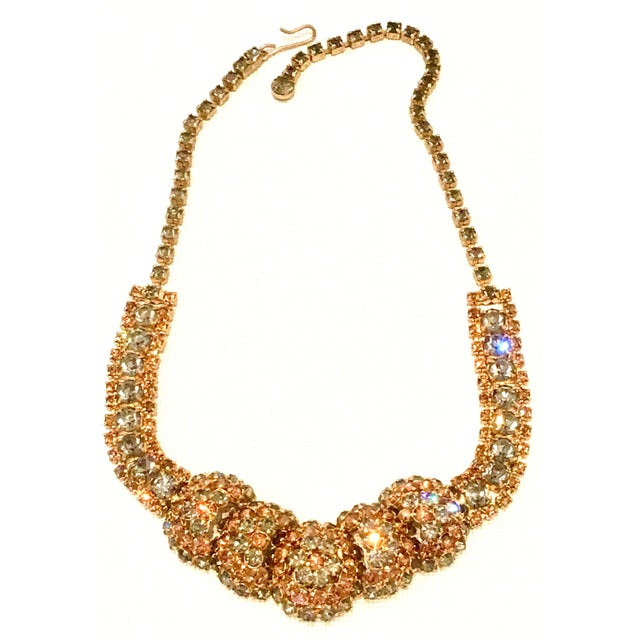 1950'S Gold Plate & Swarovski Crystal Dimensional Choker Style Necklace and clip earrings by, Joseph Warner-Set of Three...