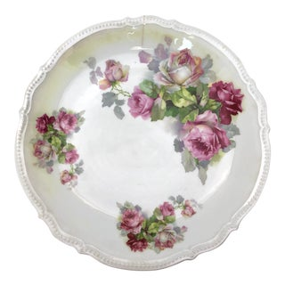 Antique P. K. Silesia Pink Rose Serving Plate For Sale