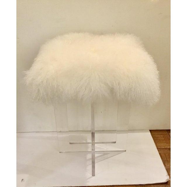 Stylish, modern, contemporary Moss Studio Mongolian Sheepskin Stool, white seat and acrylic base, showroom floor sample