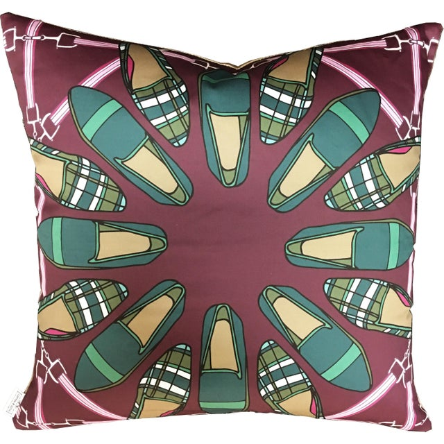 Contemporary Contemporary Cotton + Quill Sateen and Velvet Tartan Shoes Pillow - 22ʺW × 22ʺH For Sale - Image 3 of 3