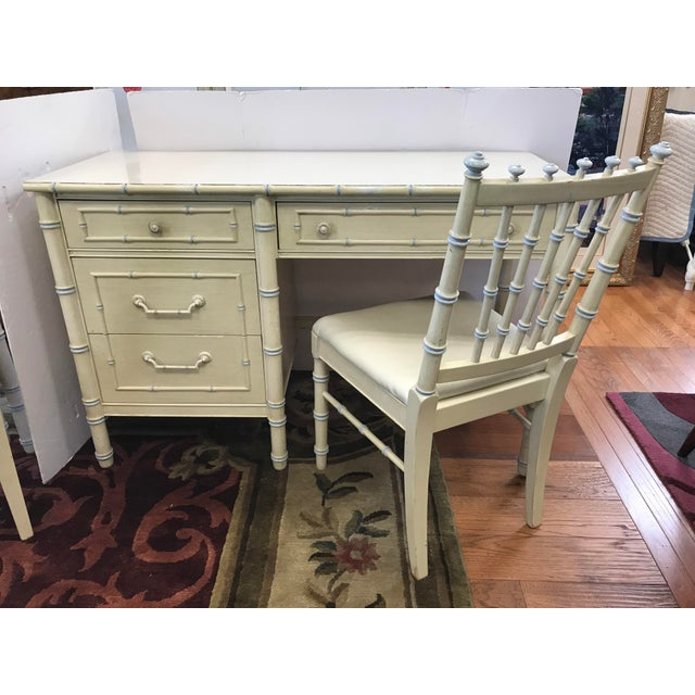 Vintage Thomasville Cream Painted Faux Bamboo Desk and Chair For Sale - Image 10 of 10