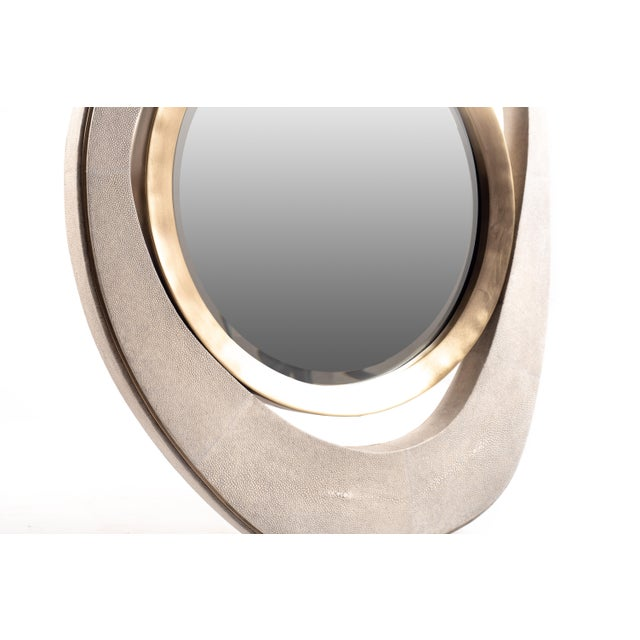 "R & Y Augousti Medium ""Peacock"" Mirror in Cream Shagreen & Bronze-Patina Brass by R&y Augousti For Sale - Image 4 of 5"
