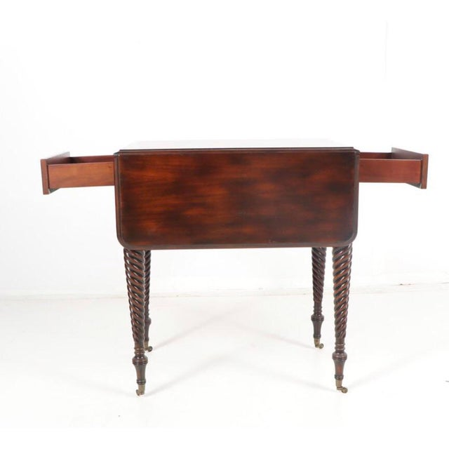 Traditional Gorgeous Maitland-Smith Mahogany Barley Twist Drop Leaf Table For Sale - Image 3 of 13
