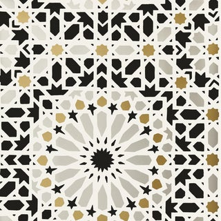 Sample - Schumacher Nasrid Palace Mosaic Wallpaper in Mica For Sale