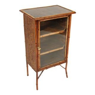 1920s Chinoiserie Bamboo and Lacquered Bookcase For Sale