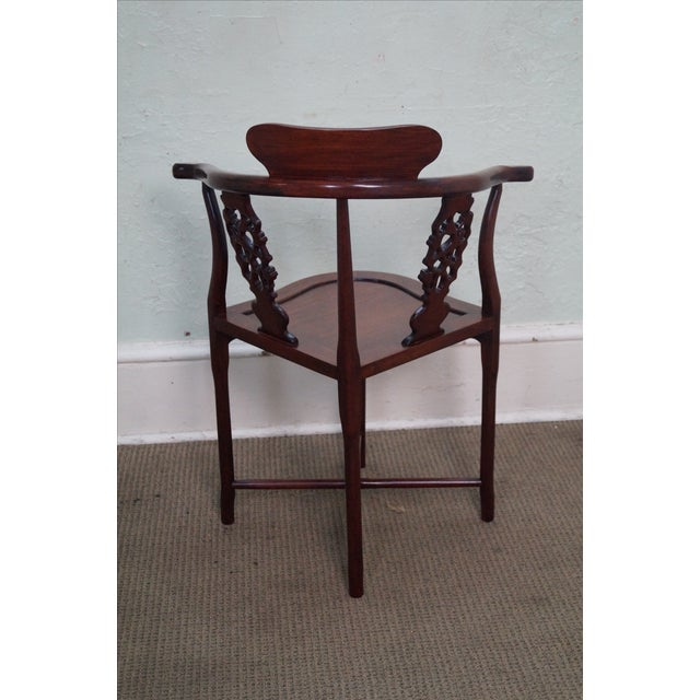 Chinese Rosewood Carved Corner Arm Chair - Image 4 of 10