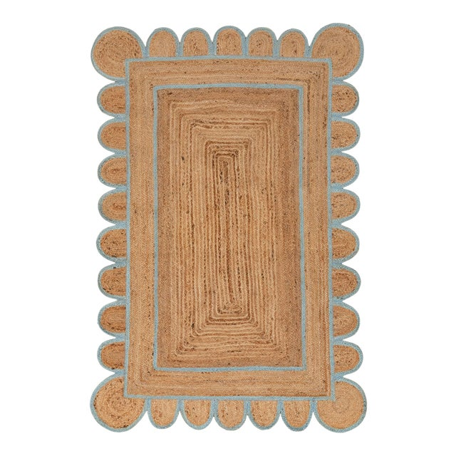 Scallop Jute Classic Blue Hand Made Rug - 5'x7' For Sale