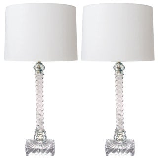 American Lamps of Solid Spiraling Clear Glass - a Pair For Sale