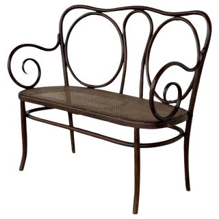20th Century Bentwood Sofa in the Thonet Style, Circa 1925, Caned Seat For Sale